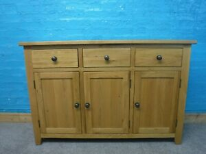 DOVETAILED WIDE SOLID OAK 3DRAWER SIDEBOARD H86 W128 D41cm- VISIT OUR WAREHOUSE