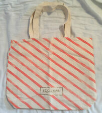L'Occitane Orange & Cream Striped Large Tote / Shopper Style Bag NEW