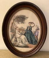 """LA MODE ILLUSTRÉE * Leroy Imp Paris * Oval Wood Frame * 14""""x11"""" * Vintage"""