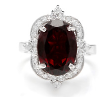 7.55 Carats Natural Red Garnet and Diamond 14K Solid White Gold Ring
