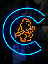 RETRO 1908 CHICAGO CUBS REAL GLASS NEON SIGN BEER BAR PUB LIGHT