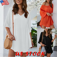 Womens V Neck Long Sleeve Loose Tops Lady Casual Pullover Plain Tee Shirt Blouse