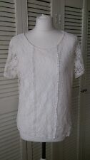 OASIS White Broderie Anglais Lace Overlay Top Blouse Summer Beach Holiday Size L