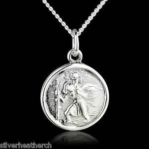 """16mm St Christopher 925 Sterling Silver Pendant + 18"""" Inch Curb Chain (Saint)"""