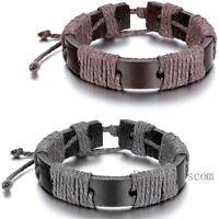 Leather Wrap Braided Rope Strap Cord Bangle Adjustable Bracelet Tribal Men Women