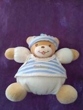 Doudou ours boule bonnet rayé bleu  TAKINOU 18cm