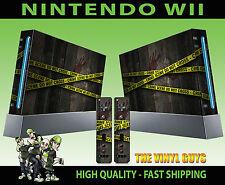 Nintendo Wii Adesivo Scena del crimine nastro della polizia grafica della pelle e 2 SKIN Pad