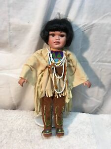 Vintage Indian Girl  Souvenir Doll 17in tall Seed Bead  out fit