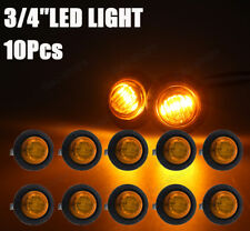 "10Pcs 3/4"" Mini Clear / Amber Side Marker Light Truck Trailer Aux Stop turn tail"