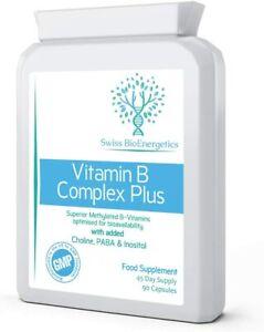 Vitamin B Complex Plus -90 Capsules - Superior Methylated Formula