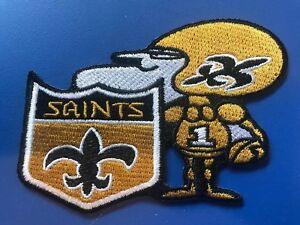 """New Orleans Saints Vintage Rare Embroidered Iron On Patch (NICE) 3.5"""" X 3"""""""