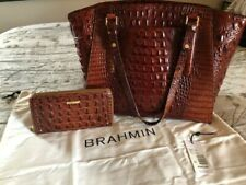 BRAHMIN PARIS TOTE - PECAN - MATCHING WALLET INCLUDED GENTLY LOVED- PERFECT!