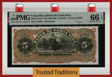 TT PK S173r ND (1901-08) COSTA RICA BANCO 5 COLONES REMAINDER PMG 66 EPQ GEM!