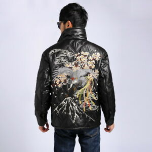 Men's Embroidered Quilted Warm Coat Full Zip Faux Leather Jacket Cotton Down