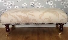 Footstool Stool In Laura Ashley Lloyd Biscuit Fabric