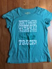 Farm Girl Womens L T Shirt Teal Dont Flatter Yourself Cowboy Graphic Tee