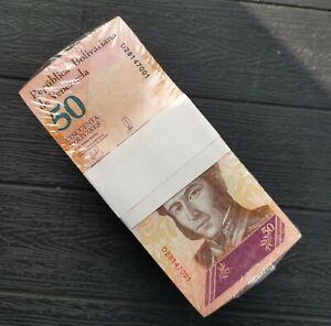 2018 Venezuela 50 Bolivares Brick 1000 Pcs. BLOCK UNC Consecutive al