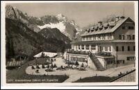 Bayern alte AK Kreuzeck Alpen 1936 gelaufen Partie am Kreuzeckhaus mit Zugspitze