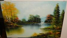LARGE OIL ON CANVAS RIVER LANDSCAPE PAINTING SIGNED CHEN
