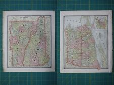 New Hampshire Vermont Massachusetts RI Vintage Original 1885 Cram's Atlas Map
