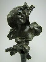 Antique Art Nouveau Maidens Bust Decorative Arts Miniature Small Mini Statue