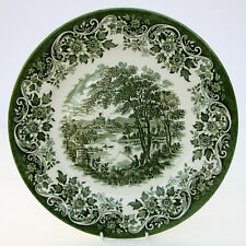 Vintage Green White Country Scene Castle Dinner Plate