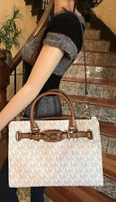 NWT,MICHAEL KORS LARGE VANILLA HAMILTON FRAME OUT LARGE TOTE HANDBAG $448