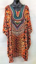 SHEER DIGITAL PRINTED EMBELLISHED TUNIC/KAFTAN SIZE 18-20-22-24-26 FREE POST
