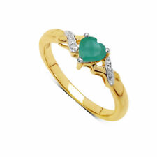 Emerald Solitaire with Accents Sterling Silver Fine Rings