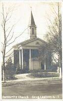 Real Photo Postcard RPPC Douglaston NY Community Church ~ Queens County NY City