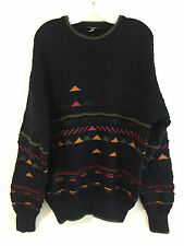 Bella Made in Australia Sweater Navy w/Orange, Red, Rose & Green Size 20