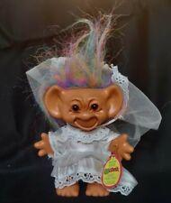 "1991 6"" Uneeda Wishnik Troll Doll With Rainbow/Tie Dye Hair And Wedding Dress"