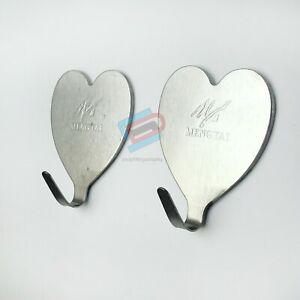 2 x Metal Self Adhesive Hooks Stick on Wall Door Hooks LOVE HEART 3m