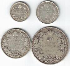 4 X CANADA 1911 COINS 5 CENT 10 CENTS DIME 25 CENTS QUARTER 50 CENTS HALF DOLLAR
