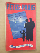 PROTEGE LIVRE FETES DE PARIS MANIFESTATIONS DE L' EXPOSITION INTERNATIONALE 1937