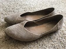 Womens TOMS perforated Tan Suede Pointy Pointed Toe Flats shoes SZ 12 Shoes