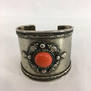 "Vintage Engraved Pewter 2 1/4"" Wide Cuff India Orange Stone Bracelet"
