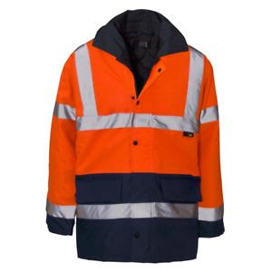 Hi Vis 2 Tone Hooded Jacket Safety Security High Visibility Work Long Coat