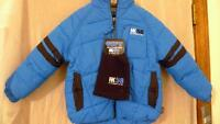 New NWT Boys size 4 hk58 Hawke Blue Gray Coat Jacket Retails $80 Hat