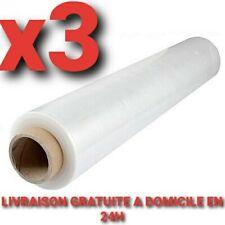 Rouleau Film Étirable TRANSPARENT 3 BOBINES 50cm x330m Emballage Palette 23µ 2kg