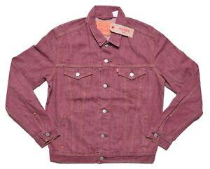 Levis Mens $98 Burgundy Red Denim Trucker Button Up Jacket Medium