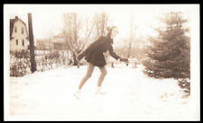 New listing GRACEFUL SNOWY DAY POSE LONG LEGGED ICE SKATING WOMAN ~ 1930s VINTAGE PHOTO