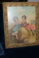 Vintage Gold Gesso Frame Framed Print of 2 Girls in Hay with Bonnets