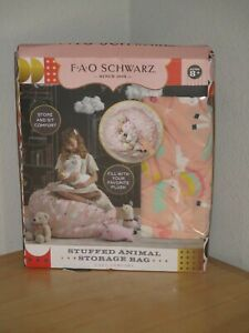 FAO Schwarz Stuffed Animal Storage Bag Unicorn Store and Sit Cozy & Comfort New