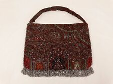 ANTIQUE PAISLEY PURSE STEEL CUT BEADED PURSE HAND MADE circa 1920's UNFINISHED
