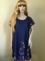 Blue Floral T-Shirt Dress Short Sleeves SIZE XL NEW WITH TAGS