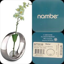 Nambe Globe Bud Vase with White Silk Orchid - New in Box