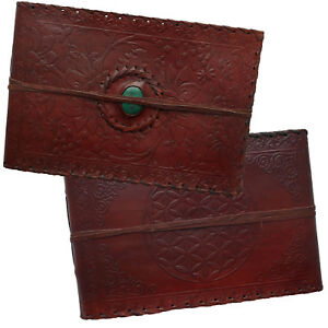 Real Leather Handmade Photo Album Scrapbook Floral Green Stone 2nd's Quality