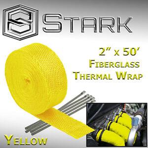 """2"""" x 50FT Exhaust Header Fiberglass Heat Wrap Tape w/ 5 Steel Ties - Yellow (J)"""