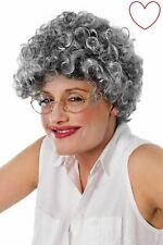 Old Lady Adult Curly Wig Grey Granny Old Women Fancy Dress Accesories